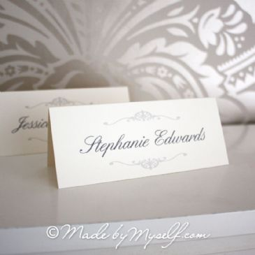 Elegant Scroll Place Card